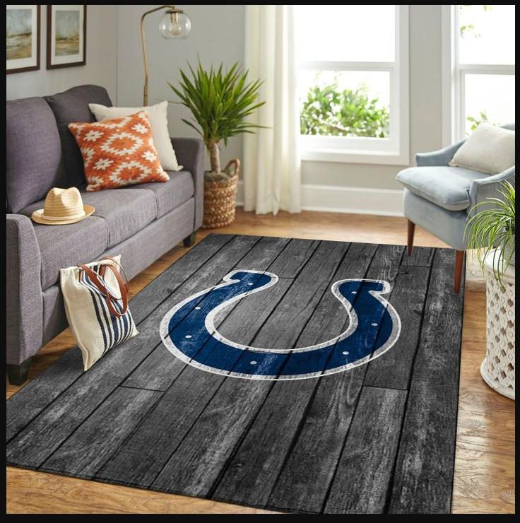RUGS FOR INDIANAPOLIS COLTS NFL TEAM LOGO GREY WOODEN STYLE STYLE NICE GIFT