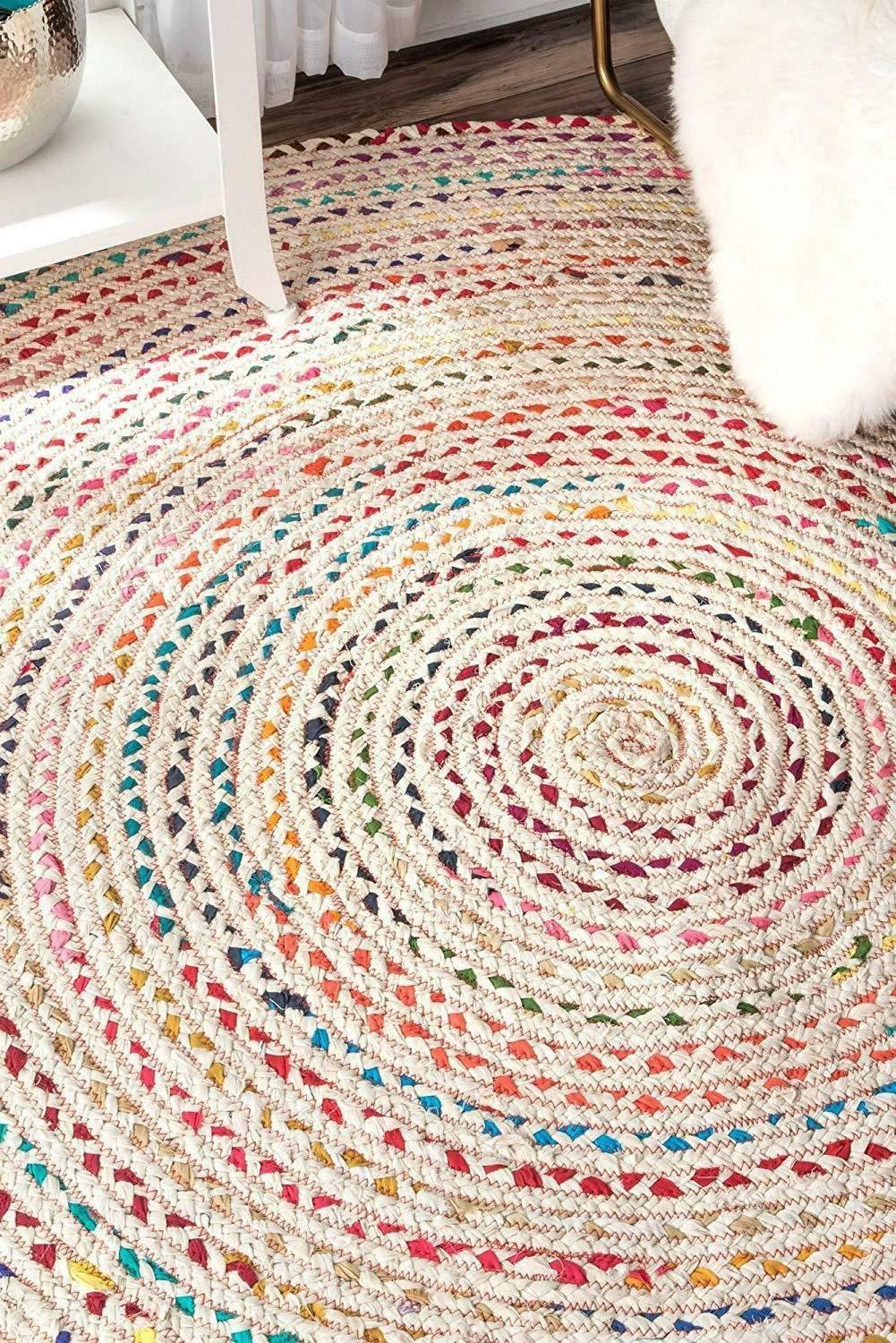 white multi color round braided indian cotton