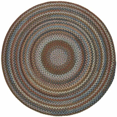Wool Braided Rug Country Cottage Green Blue Beige