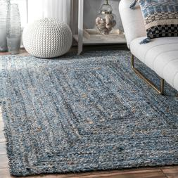 Modern Braided Rug Cotton and Jute Rugs Blue Small Extra Lar