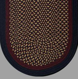 NAVY, BURGUNDY, TAN BRAIDED COUNTRY AREA RUGS By COLONIAL RU