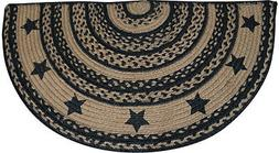New Country Primitive Farmhouse Tan Jute BRAIDED BLACK STAR
