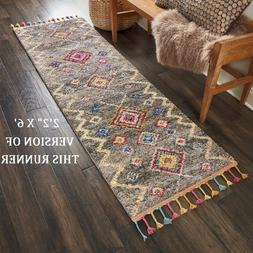 """NWT* NOURISON NOMAD GREY/GRAY RUNNER RUG 2'2"""" X 6' BRAIDED T"""