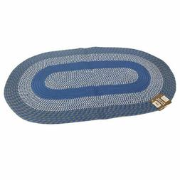 """Madison Oval Braided Decorative Area Rug 28"""" x 48"""" in Blue"""