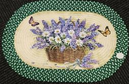 Oval Braided Kitchen Accent Rug  LAVENDER, DAISIES & BUTTERF