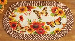 Oval Braided Kitchen Accent Rug  BUTTERFLIES & SUNFLOWERS