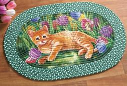 OVAL BRAIDED KITCHEN RUG RED  A SMALL CAT & TULIP GARDEN FLO