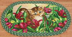 OVAL BRAIDED KITCHEN RUG RED  A CAT, SPRING FLOWERS & BUTTER