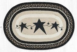 """Primitive Black Stars Oval Rug 20"""" x 30"""", Earth Rugs, Countr"""