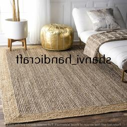 Rectangle Hand Woven Jute Rug Braided 6x9 Feet Area Rugs Hom