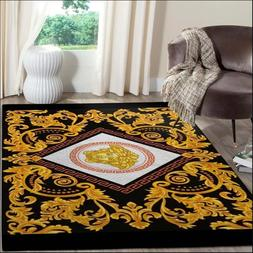 RUGS FOR LIVING ROOM -Versace Fashion Brand Logo Gold Area R