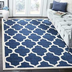 Safavieh Amherst Collection AMT420P Navy and Beige Indoor/ O