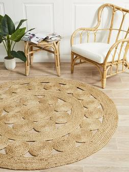 Small to Very large Jute Circle Rustic Cottage Braided Cotto
