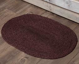 SOLID BURGUNDY Jute Braided Area Rug Oval Primitive Red 20x3