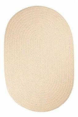 Rhody Rug Solid Polyester Oval Braided Area Rug, 5 by 8-Foot