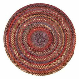 Songbird Red Round Braided Rugs  Multi/Red Casual