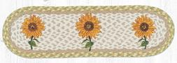 """SUNFLOWERS 100% Natural Braided Jute Rug, 27"""" x 8.25"""" Oval,"""