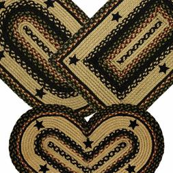 Tartan Star Braided Area Rug By IHF Rugs. Oval & Rectangle.