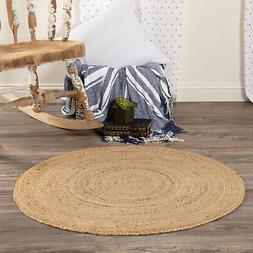 VHC Farmhouse Harlow Jute Area Accent Rug Round 3' x 3', 6'