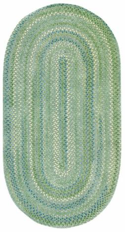 Capel Rugs Waterway Green/Blue Cotton Chenille Braided Area