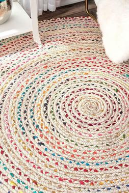 White Multi Color Round Braided Indian Handmade Cotton 3 Fee